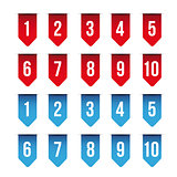 Number set ribbon red and blue