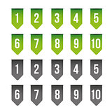 Number set ribbon green and grey