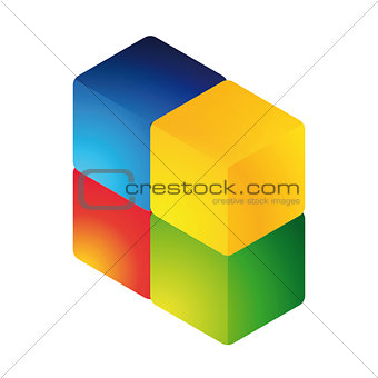 Abstract colorful cube shape