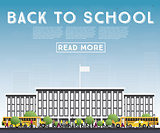 Back to School. Banner with School Bus, Building and Students.