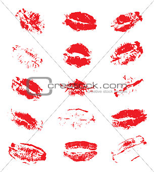 Lipstick Kiss Prints Isolated on White Background.