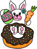 Bunny with donut and easter egg