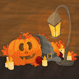 cartoon illustration for halloween - hat, lantern, pumpkin on bright background