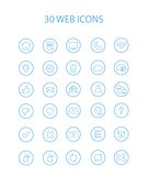 30 Blue Color Web Icons with Hollow Round