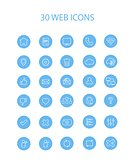 30 Blue Web Icons with Interior Full Round