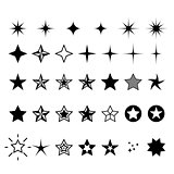 Star icons - rating, rank and decor star symbols