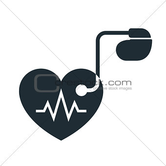 Artificial cardiac pacemaker icon with pulse tracing