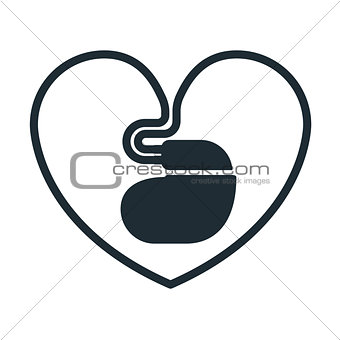 Cardiac pacemaker icon with  heart-shaped cord