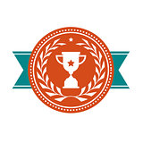Achievement badge - award medal with sport cup