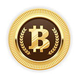 Bitcoin symbol on gold medal - cryptocurrency icon