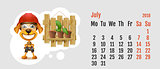 2018 year of yellow dog on Chinese calendar. Fun yellow dog master with working tool. Calendar grid month July