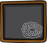 Donut chalk sketch on blackboard background