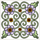 Seamless ornate flower tile