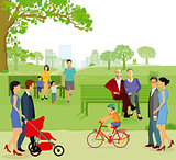 Groups of families and member in the park