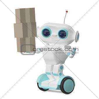 3d Illustration Robot with Three Box