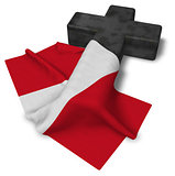 christian cross and flag of peru - 3d rendering