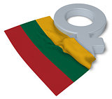 symbol for feminine and flag of lithuania - 3d rendering