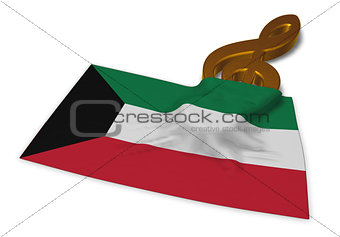 clef symbol symbol and flag of kuwait - 3d rendering