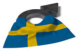 mars symbol and flag of sweden - 3d rendering