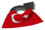 mars symbol and flag of turkey - 3d rendering