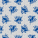 Japanese pattern in blue and gray colors.