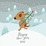 Cute dog carries Christmas tree. Happy new year 2018