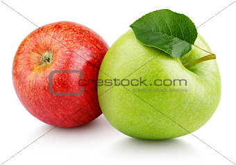 Green and red apples with leaf isolated on white