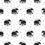Bear black and white tribal seamless vector patterns.