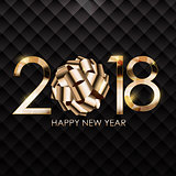 2018 New Year Gold Glossy Background. Vector Illustration