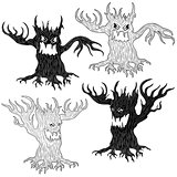 Four Halloween evil tree