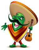 Green Mexican cactus in sombrero and poncho sings