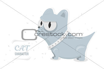 Cat angry stare big eyes. Cartoon character for animation or print. Trendy style for graphic design, Web site, social media, user interface, mobile app.