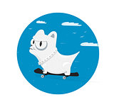 Dog character skates. Sporty pet on skateboard. Vector cartoon illustration.