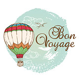 Travel background with air balloon