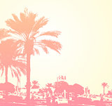 Travel background with palms