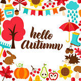 Hello Autumn Concept with Lettering