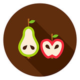 Pear Apple Circle Icon