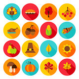 Thanksgiving Day Flat Icons