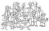 black and white cartoon businessmen group