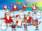 Christmas cartoon characters group