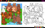 bears characters group coloring book