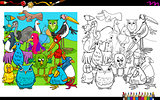 birds characters group coloring book