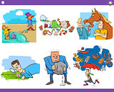 cartoon sayings or proverbs set