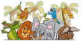 cartoon African safari wild animals group