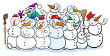 happy snowmen group cartoon illustration