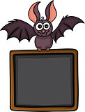 Happy bat with blackboard background
