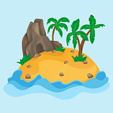 Cartoon illustration of the small tropical island