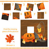 Find missing piece - Puzzle game with pumpkins