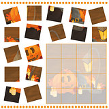 Jigsaw Puzzle game for Children with pumpkins - halloween
