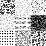 Black and white patterns for Valentines day